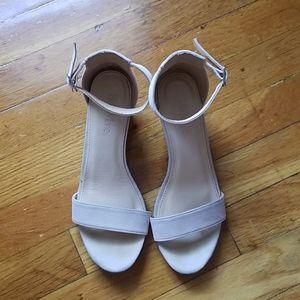 Nude faux suede block heel